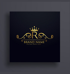 Letter r logo with golden crown and floral vector