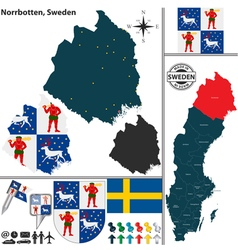 Map of Norrbotten vector image