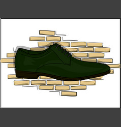 Oxford dark green classic lace-up shoes on a vector