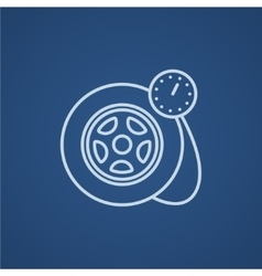 Pressure gauge tyre line icon vector image