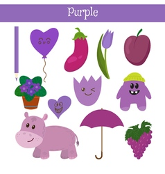 Purple learn the color education set of primary vector
