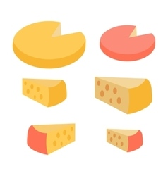 Set of different cheese types varieties of pieces vector
