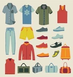 Set of men clothes and accessories icons vector image