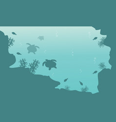 Silhouette of turtle and fish landscape underwater vector