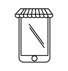 Smartphone shopping online store graphic outline vector