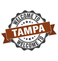 Tampa round ribbon seal vector