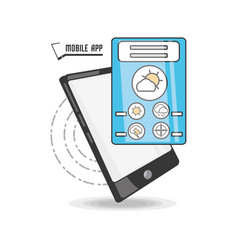 technology smartphone with apps weather vector image vector image