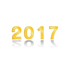 The 2017 gold on white background vector image