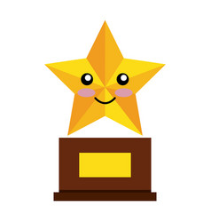 Trophy star comic character isolated icon vector
