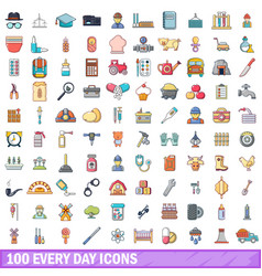 100 every day icons set cartoon style vector