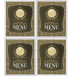 Set of restaurant menu cover design in vintage vector image