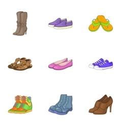 Foot care icons set cartoon style vector