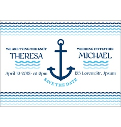 Wedding marine invitation card vector