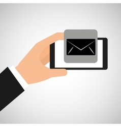 hand holding smartphone email envelope vector image