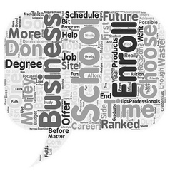 Business school text background wordcloud concept vector