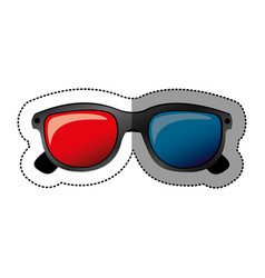 Colorful sticker of 3d cinema glasses vector