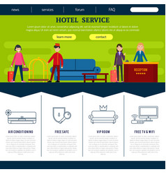 Flat hotel web page template vector