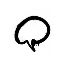 graffiti sprayed text balloon in black on white vector image