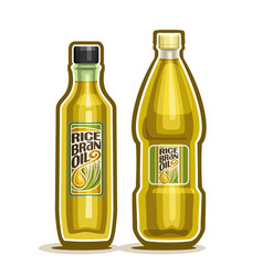2 yellow bottles with rice bran oil vector