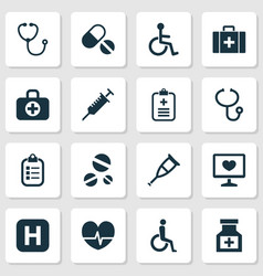 Drug icons set collection of chest handicapped vector