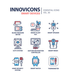 Smart device - modern line icons set vector