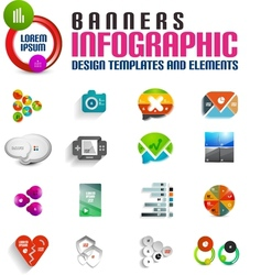 Modern colorful 3d banners templates set vector
