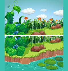Two scenes of park with flowers and river vector