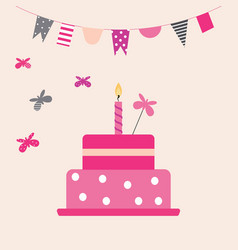 Cake with butterflies vector