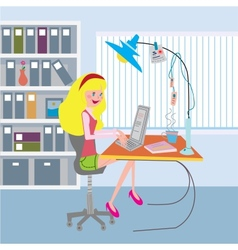 Girl working at the office with notebook vector