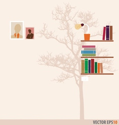 Bookshelf and tree wallpaper vector