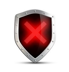Metal shield with a digital sign ban isolated on vector