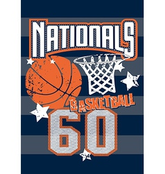 Basketball nationals sports on stripped background vector