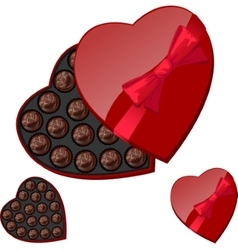 Heart-shaped box with chocolates vector image