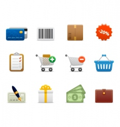 Smooth series shopping icons vector