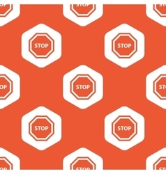 Orange hexagon stop pattern vector