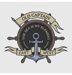 The emblem on the marine theme vector image