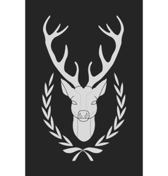 Deer in laurel wreath chalk vector