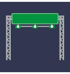 Blank green traffic road sign on black vector