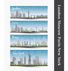 London paris new york moscow vector