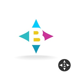 Letter b logo colorful style in a pillow shape vector