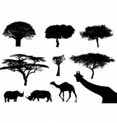 Trees and animals vector