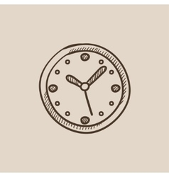 Wall clock sketch icon vector