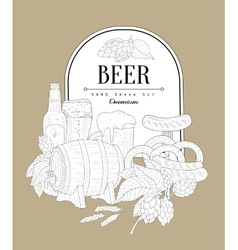 Beer themed vintage sketch vector
