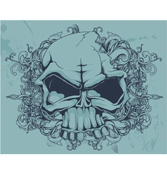 grunge floral and skull vector image