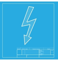 High voltage danger sign white section of icon on vector