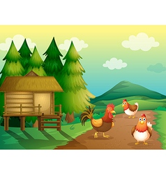 A farm with chickens and a native house vector