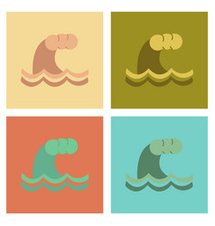 Assembly flat icons nature tsunami danger vector
