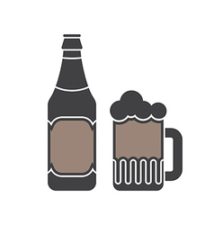 Beer Bottle And Glass Silhouettes vector image vector image