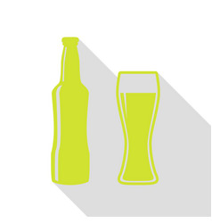 beer bottle sign pear icon with flat style shadow vector image