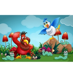 Birds and other insects in the garden vector